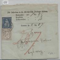 Sitzende Helvetia/Helvétie Assise 28 2c, 31 10c - Von Der Züricherische Freitags-Zeitung Nach Kyburg - 1862-1881 Sitzende Helvetia (gezähnt)