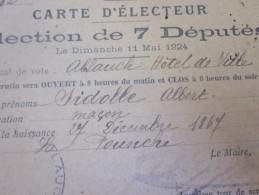 Mai 1924 Carte Electeur Election 7 Députés Lieu De Vote ALLAUCH Hotel De Ville Sidoble Albert Maçon Né 1867 La Pounche - Documents Historiques