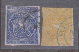 ECUADOR 1865 Half Real Blue & Yellow Real Circular Postmarks SC# 2 - 4 - Equateur