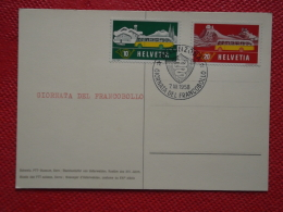 Swisse Switzerland Bellinzona 1958 Giornata Del Francobollo - Post