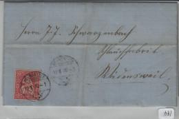 Sitzende Helvetia/Helvétie Assise 38 10c - Von Neumünster Nach Wedensweil - 1862-1881 Helvetia Assise (dentelés)
