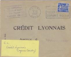 FRANCE :1953: Y.886 Perforé ** C.L ** Sur Pli Voyagé Avec FLAMME ## CAUDRY:Dentelles/Tulles/Broderie/Guipures/Rideaux ## - Textile
