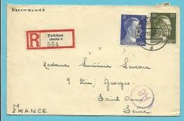 """Brief Aangetekend Met Stempel ZWICKAU (SACHS) 2  Op 24/10/1943 -> """"France"""" (VK) - Briefe U. Dokumente"""