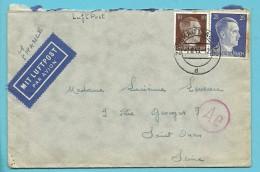 "Brief PAR AVON  Met Stempel ZWICKAU (SACHS) 2  Op 7/8/1943 -> ""France"" ,  + Censuur (VK) - Alemania"