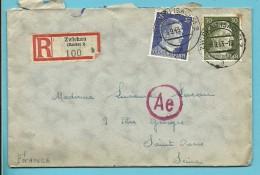 """Brief Aangetekend Met Stempel ZWICKAU (SACHS) 2 Op 6/9/1943 -> """"France"""" + Censuur (VK) - Briefe U. Dokumente"""