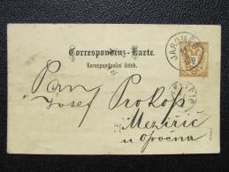 GANZSACHE Korrespondenzkarte JAROMER 1888 - Mezirici Spoutil  /// D*20416 - 1850-1918 Imperium