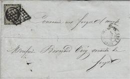 1849- Enveloppe De Vitry Le François  Affr. N°3 ( Court ) Oblit. Grille - Marcophilie (Lettres)