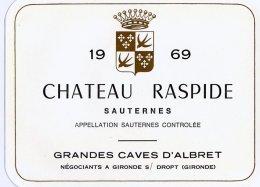 1 Etiquette Ancienne De SAUTERNES - 1969 - CHATEAU RASPIDE - Bordeaux