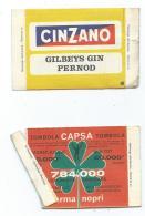LOT 2 BILLETS DE TOMBOLA CAPSA, C.A.P.S.A, PUB, PUBLICITE CINZANO - GILBEYS GIN PERNOD ET MELITA - Biglietti Della Lotteria