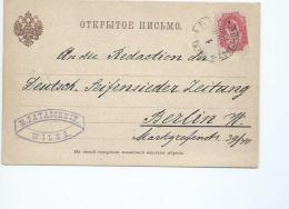 Russie.Postcard From WILNA To BERLIN .Carte Postale De Vilnius Pour Berlin (1891) M Pataschkin - 1857-1916 Imperium