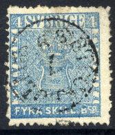 SWEDEN 1855  4 Skilling Banco Blue,  Used.  Michel 2a - Sweden