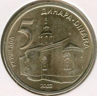 Serbie Serbia 5 Dinara 2003 UNC KM 36 - Serbie