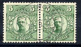 SWEDEN 1911 Definitive 5 öre Pair With Crown Watermark Fine Used.  Michel 60 - Sweden
