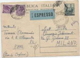 Cartolina Postale Quadriga L20 + Turrita Lire25x2 Tariffa Espresso Cagliari 16ago1954 X Milano - Interi Postali