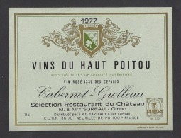 Etiquette De Vin Du Haut Poitou Caberner Grolleau 1977 - Restaurant Du Chateau Mr Et Mme Sureau à Oiron (79) - Sin Clasificación