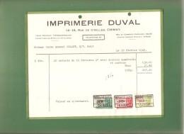 Facture - IMPRIMERIE DUVAL CHIMAY -1949- - Imprimerie & Papeterie