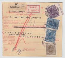 Yugoslavia Kingdom SHS Parcel Card - Sprovodni List 1930 Veliki Zdenci To Crikvenica Bb160516 - 1919-1929 Regno Dei Serbi, Croati E Sloveni