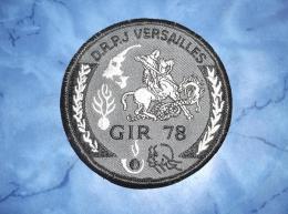 Ecusson Patch Gendarmerie Police Judiciaire Douane GIR 78 Yvelines BV Gris - Ecussons Tissu