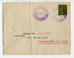 """!!! CACHET PROVISOIRE DE LILLE """"LILLE RECONQUIS"""" SUR LETTRE AFFRANCH 15C SEMEUSE - Postmark Collection (Covers)"""