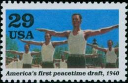 1991 USA World War II Stamp-American's First Peacetaime Draft Sc#2559b Soldier Gymnastics Sport WWII - Gymnastics