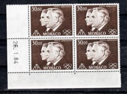 Monaco PA 104 Princes Rainier Et Albert Bloc De 4 Coin Daté 26 1 84 Neuf ** TB MNH SIN CHARNELA - Poste Aérienne