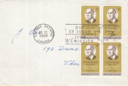 Canada - FDC 20-02-1969 - Vincent Massey - Generalgouverneur Von Kanada - M 433 (blok Van 4 Zegels) - Omslagen Van De Eerste Dagen (FDC)