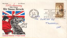 Canada - FDC 12-09-1969 - 200. Geburtstag Von Generalmajor Sir Isaak Brock - M 443 - Omslagen Van De Eerste Dagen (FDC)