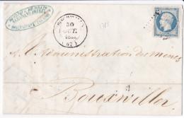 1785# LETTRE Obl BISCHWILLER 1854 T14 BAS RHIN BOUXVILLER BOUXWILLER - Postmark Collection (Covers)