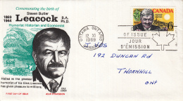 Canada - FDC 12-11-1969 - 100. Geburtstag Des Humoristen Stephen B. Leacock - M 446 - Omslagen Van De Eerste Dagen (FDC)