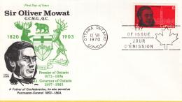 Canada - FDC 12-08-1970 - 150. Geburtstag Von Sir Oliver Mowat - Politiker - M 460 - 1961-1970