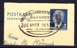 Germany DDR Postal Stationery Ganzsache Antwortteil Fragment 10 Auf 12 Pf. Bahnpost TRIPTIS - LOBENSTEIN (Thür.) 1954? - [6] República Democrática