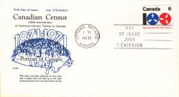 Canada - FDC 01-06-1971 - 100 Jahre Volkszählungen In Kanada - M 481 - Omslagen Van De Eerste Dagen (FDC)