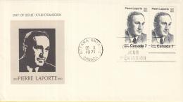 Canada - FDC 20-10-1971 - 1. Jahrestag Der Ermordung Von Pierre Laporte - M 492 - Omslagen Van De Eerste Dagen (FDC)