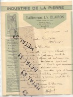 Caudry, Lettre Industrie De La Pierre Blairon, 1934 (illustration Art Déco) - Non Classés