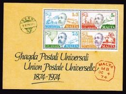 Malta, Scott #487a, Mint Never Hinged, Centenary Of UPU, Issued 1974 - Malta
