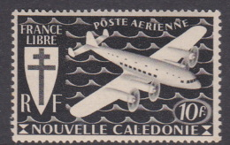 New Caledonia SG 284 1942 Free French Issue Airmail 10 F Black MNHB - Nouvelle-Calédonie