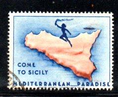 W1151 - COME TO SICILY , MEDITERRANEAN PARADISE . Annullato - Vignetten (Erinnophilie)