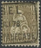 1512 - 1 Franken Golden Sitzende Helvetia Gestempelt - 1862-1881 Sitzende Helvetia (gezähnt)