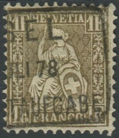 1512 - 1 Franken Golden Sitzende Helvetia Gestempelt - 1862-1881 Helvetia Assise (dentelés)