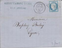 Oblitération De Vals GC (Ardèche) 1875  T17 - 1849-1876: Période Classique