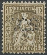 1513 - 1 Franken Golden Sitzende Helvetia Mit PERFIN SCS - 1862-1881 Sitzende Helvetia (gezähnt)