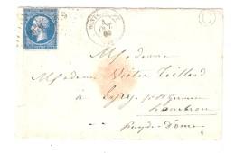 Lettre De MONTELIMART ( Sic ) MONTELIMAR, Drôme, Pc 2079 S Empire N° 14 Cachet FACTEUR C > EYRY  St Germain Lembron 1860 - 1849-1876: Période Classique