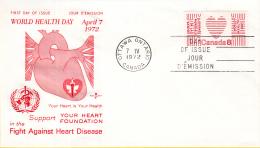 Canada - FDC 07-04-1972 - Welt-Herzmonat - World Health Day - Fight Against Heart Disease - M 498 - Omslagen Van De Eerste Dagen (FDC)