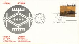Canada - FDC 06-07-1972 - Indianer (I) - Kunsthandwerk Und Lebensweise Der Prärie-Indianer - M 500x-501x - Omslagen Van De Eerste Dagen (FDC)