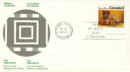 Canada - FDC 21-02-1973 - Indianer (III) - Kunsthandwerk Und Lebensweise Der Algonkin-Indianer - M 519-520 - Omslagen Van De Eerste Dagen (FDC)