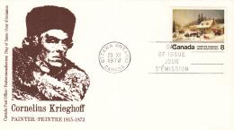 Canada - FDC 29-11-1972 - 100. Todestag Von Cornelius Krieghoff - M 517x - Omslagen Van De Eerste Dagen (FDC)