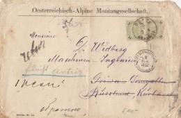 Austria - 1892 Pair Of 20 Kr Sent From Graz To Kurland, Russia And Retour - Briefe U. Dokumente
