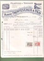 Facture- Filature & Tissage Albert TRENTESEAUX & FILS - Estaimpuis - 1949 - Droguerie & Parfumerie