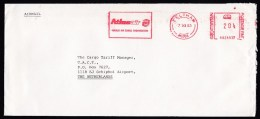 UK: Airmail Cover To Netherlands, 1983, Meter Cancel, Atlas Air, Cargo Airline, Airlines, Rare (traces Of Use) - 1952-.... (Elizabeth II)