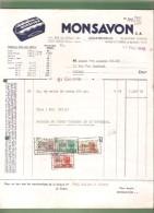 Facture- MONSAVON S.A.- Bruxelles  - 1949 - Savon - Droguerie & Parfumerie